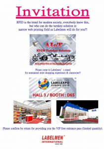 Welcome to visit our booth in LabelExpo Europe 2019